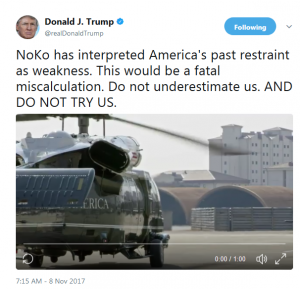 do not try us tweet 300x289 - 北朝鮮の太平洋上水爆実験で米国が「反撃」する!過度な圧力で金正恩が自暴自棄になれば朝鮮半島と日本をみちづれに!? 核+通常ミサイル+おとりでミサイル防衛は役に立たない!/Kim Jong-un becoming desperate or testing hydrogen bomb in Pacific Ocean can trigger war